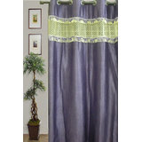 JBG Home Store Stylish Tissue Lace Design Curtain(7Ft) -Purple