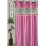 JBG Home Store Stylish Tissue Lace Design Curtain(9Ft) -Pink