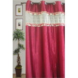 JBG Home Store Stylish Tissue Lace Design Curtain(7Ft) -Maroon