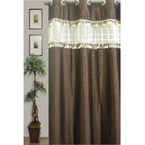 JBG Home Store Stylish Tissue Lace Design Curtain(9Ft) -Brown