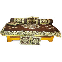 JBG Home Store Beautiful Choclaty Ethnic Design Diwan Set- (Set Of 8 Pieces)