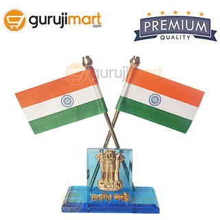 Guruji Mart Crossed Indian Flag with Ashoka for Car Home  Office Table Top