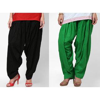 Ashish Fabrics Black Green Cotton Plain Patiala Salwar