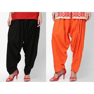 Black Orange Stylish Semi Patiala Salwar