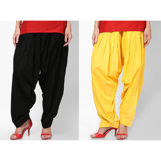 Ashish Fabrics Black Yellow Cotton Plain Patiala Salwar