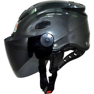 Aeroh Urban Glossy GREY Unisex Tinted Visor Motorbike Helmet - M