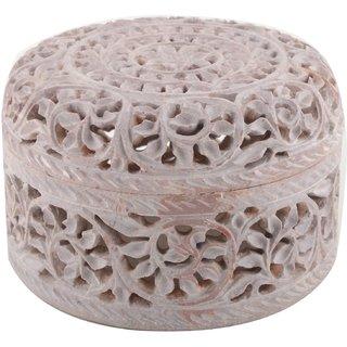 Freshings Gaurara Carved Round Shape Box (F-GB-4)