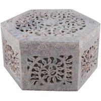 Freshings Gaurara Carved Hexagon Shaped Box (F-GB-6)