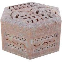 Freshings Gaurara Carved Hexagon Shape Box (F-GB-7)