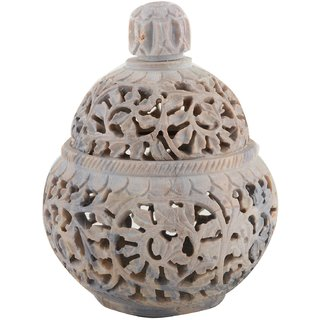 Freshings Gaurara Carved Box Pot Shaped With Round Lid (F-GP-1)