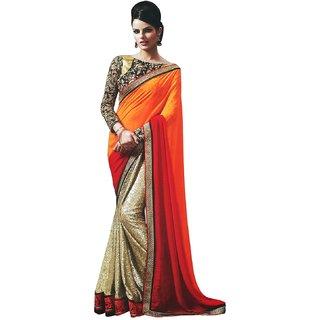 Designer Sarees Peach & Sky Blue Banarasi Silk Self Design Saree With Blouse