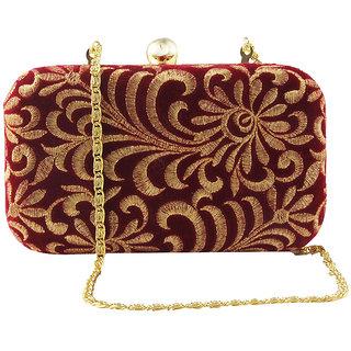 Red & Gold Zardosi Clutch