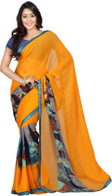 florence clothing company Yellow Georgette Printed Saree With Blouse