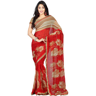 florence clothing company Brown Georgette Printed Saree With Blouse