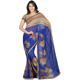 florence clothing company Blue Georgette Printed Saree With Blouse