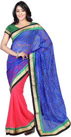 florence clothing company Blue Brasso Plain Saree With Blouse