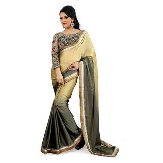 florence clothing company Beige Satin Plain Saree With Blouse