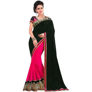 Florence Black  Pink Chiffon Embroidered Saree (FL-10423)