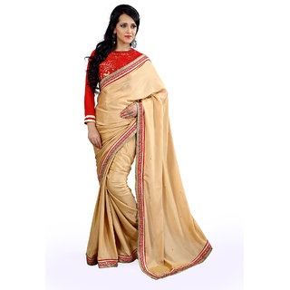 florence clothing company Beige Chiffon Plain Saree With Blouse