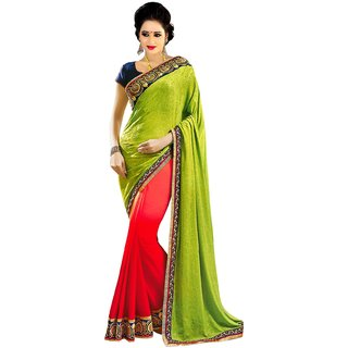 Florence Green  Red Chiffon jacquard Embroidered Saree (FL-10428)