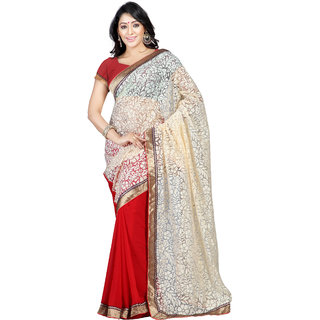 Florence Beige  Red Brasso Embroidered Saree (FL-10411)