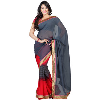 florence clothing company Red Georgette Plain Saree With Blouse