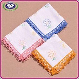 Beautiful Flower Design Female Handkerchiefs Pack Of 6