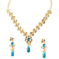 Kriaa Gold Plated Kundan Set in Blue - 2200403