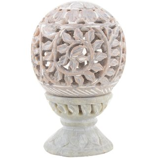 Freshings Gaurara Carved Round Shaped Candle Tea Light Holder (F-GCTLH-4)