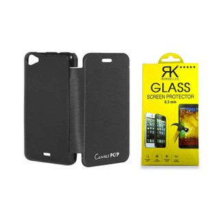 RKMobiles Flip Cover and Tempered Glass Screen Protector for Micromax Q371 Canvas Pep