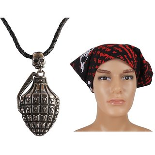 Jstarmart Designer Pendent Men Necklace Combo Headwrap JSMFHNL0113