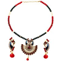 Kriaa BlackRed Alloy Non Plated Necklace Set For Women
