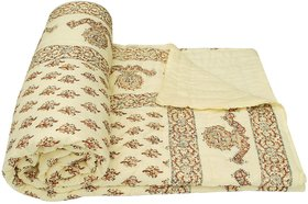 Krg EnterprisesTraditional & World Famous Golden Print Jaipuri Double Bed Cotton Razai / Quilt