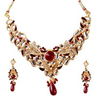 Kriaa RedGolden Alloy Gold Plated Necklace Set For Women