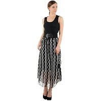 Raabta Black and White Zig Zeg Long Dress
