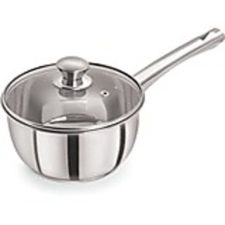 Pristine Induction Compatible Stainless Steel Sandwich Base Dlx Saucepan with Glass Lid, 14 cm , 1 PC,
