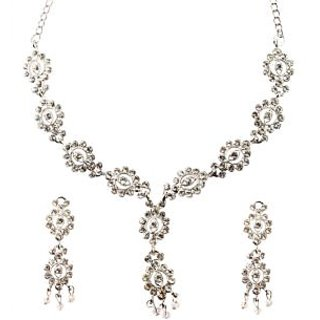 Kriaa Silver Plated Stone Set in White - 2200514