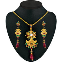 Kriaa Gold Plated Stone Set in Red Green - 2200610