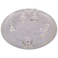 GS Museum Silver Plated Ganesh Laxmi Shubh Labh Pooja Thali 6pcs.