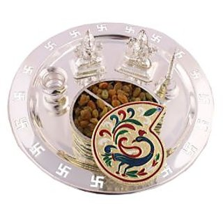 GS Museum Silver Plated  Swastika thali with Tilak Shape Chopda and Dryfruits 6 Pcs.