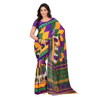 Florence Multicolor Faux Georgette Printed Saree (FL-10457)