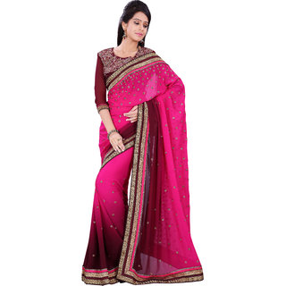 Florence Pink Chiffon Embroidered Saree (FL-10485)