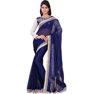 Florence Blue Chiffon Embroidered Saree (FL-10482)