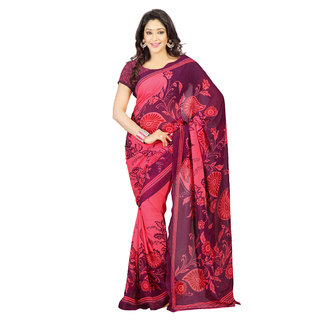 Florence Red Faux Georgette Printed Saree (FL-10447)