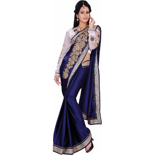 Florence Blue Velvet Embroidered Saree (FL-10475)