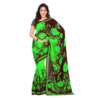 Florence Green Faux Georgette Printed Saree (FL-10449)
