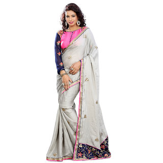 Florence Off White Satin chiffon Embroidered Saree (FL-10470)
