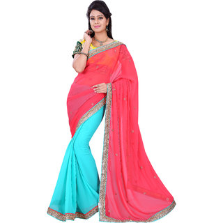 florence clothing company Red Chiffon Embroidered Saree With Blouse