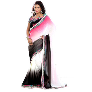 florence clothing company Black Georgette Embroidered Saree With Blouse