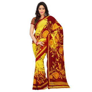 Florence Yellow Faux Georgette Printed Saree (FL-10450)